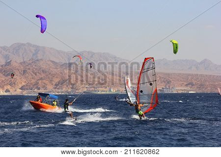 Eilat, Israel - october 17: view of a windsurfer in the gulf of Eilat, Red Sea on october 17, 2017 in  Eilat, Israel