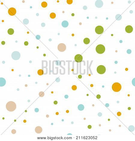 Colorful Polka Dots Seamless Pattern On White 1 Background. Remarkable Classic Colorful Polka Dots T