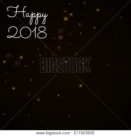 Happy 2018 Greeting Card. Sparse Starry Snow Background. Sparse Starry Snow On Brown Background. Cha