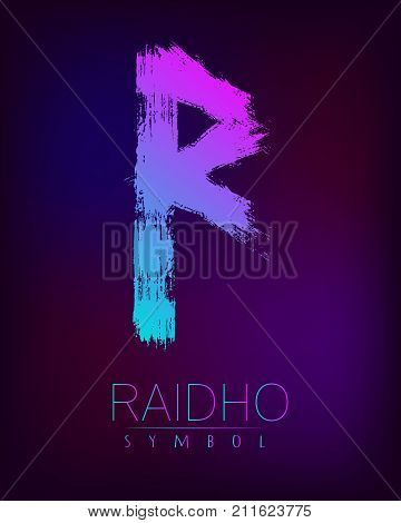 Rune Scandinavia is a Raidho riches vector illustration. Symbol of Futhark letters. Brush stripes with trend gradient blue pink color on blur dark background. Magic and mystery sign. Spiritual