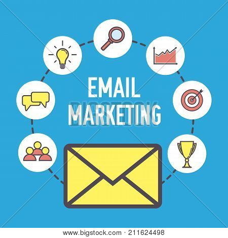 Email marketing design. Flat banner concept with icons. Digital marketing. Vector illustration on blue background.