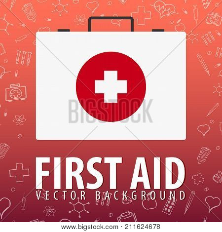 First Aid. Medical Background. Health Care. Vector Medicine Illustration.