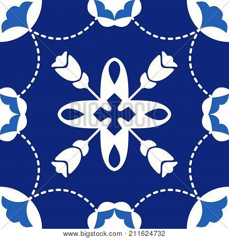 Portuguese tiles Quatrefoil vector pattern. Tangled modern pattern based on traditional oriental arabic patterns - arabesque. Seamless vector background. Moroccan Turkish Lisbon floor tiles.
