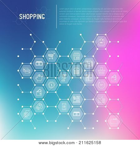 Shopping concept in honeycombs with thin line icons: cashbox, payment, pos terminal, piggy bank, sale, currency, credit card, trolley. Vector illustration for banner, print media.
