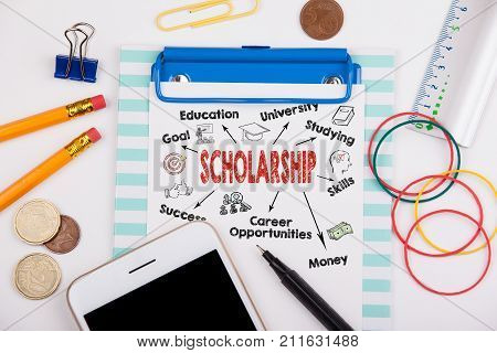 scholarship concept. Chart with keywords and icons. Office desk with stationery and mobile phone.