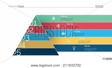 Marketing pyramid slide template. Business data. Graph, diagram, design. Creative concept for infographic, report. Can be used for topics like hierarchy, consequence, number options