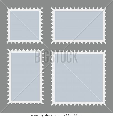 Blank postage stamps template set on dark background. Rectangle and square posta ge stamps for envelopes postcard s. Vector.