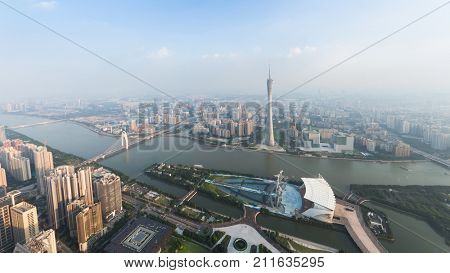 GUANGZHOU, CHINA - AUG 23, 2017: Canton tower, Liede Bridge in Guangzhou, China, view from International Finance Center skyscraper