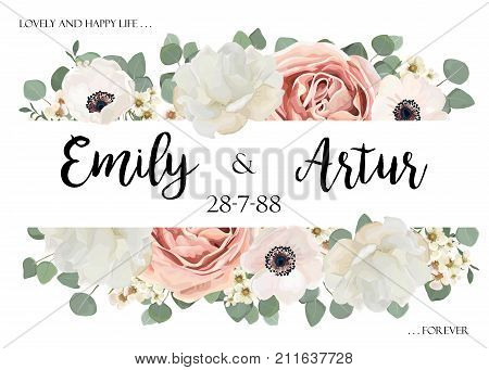 Vector floral wedding invitation invite save the date card design with Flower Bouquet of Peach white Rose Peony wax flowers Eucalyptus green branch leaf greenery mix. Elegant tender template.