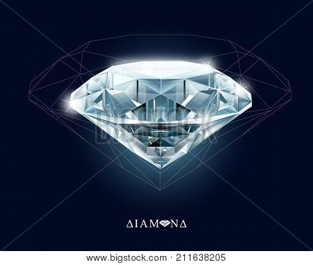Diamonds, jewelry, gemstone. Isolated vector illustration on white background