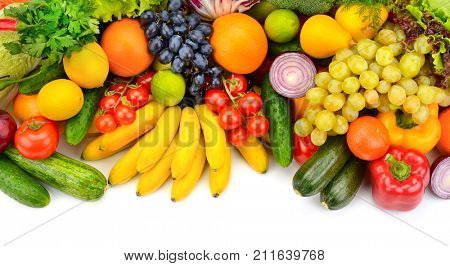 Big collection fresh of fruits and vegetables isolated on white background.
