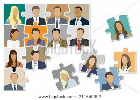 Jigsaw puzzle shown as a damaged organizational structure of the company.