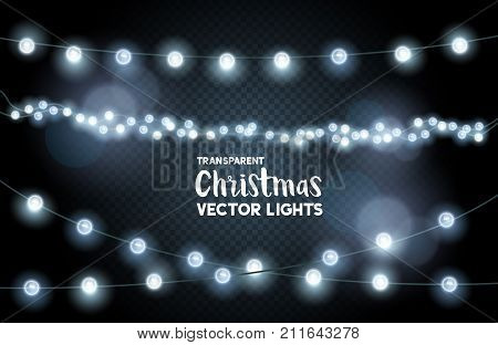 silver glowing christmas lights collection. vector illustration.