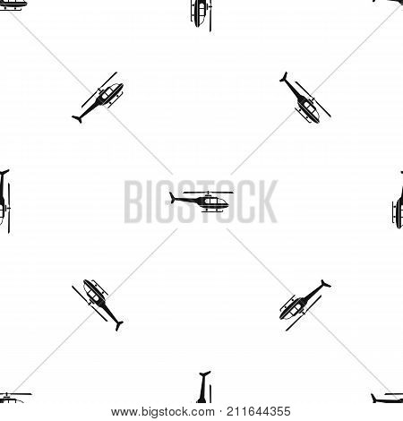 Military helicopter pattern repeat seamless in black color for any design. Vector geometric illustration poster