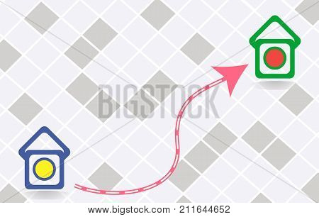 Icon of the route between two points.Flat vector stock illustration