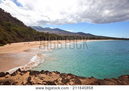 Popular destination know as Big Beach on the island of Maui Hawaii