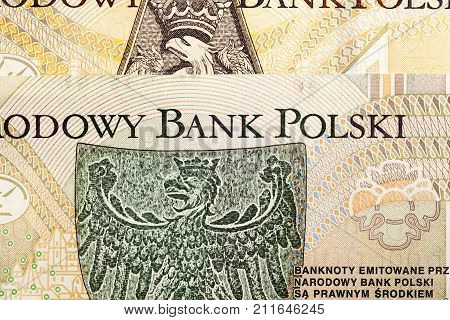 reverse of two hundred paper banknotes of Polish zloty, photographed close-up