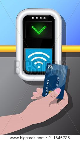 Terminal with hand and credit card. Contactless payment communication technology. Near-field communication protocol. Card Payment Vector Icon. Wireless payment.