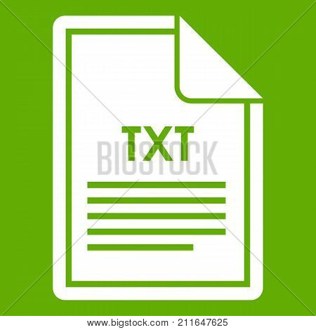 File TXT icon white isolated on green background. Vector illustration