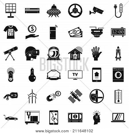 Hi tech icons set. Simple style of 36 hi tech vector icons for web isolated on white background