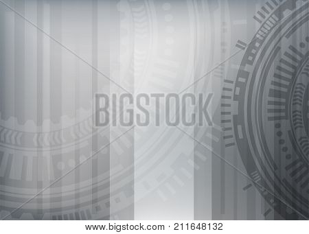 Hi-tech digital technology. Vector abstract metallic illustration gear wheel engineering telecoms futuristic background. Circuit grey metal board information. Speed hardware arrow line.