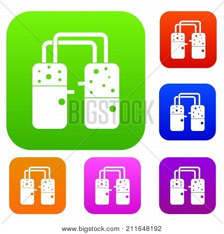 Containers connected with tubes set icon color in flat style isolated on white. Collection sings vector illustration