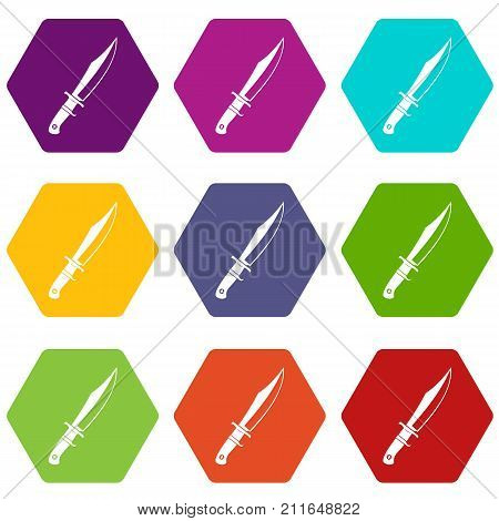 Dagger icon set many color hexahedron isolated on white vector illustration