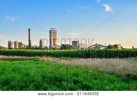 WOLA POLAND - JULY 29: 2017: Building of hard coal mine Piast 2 in Wola Poland.