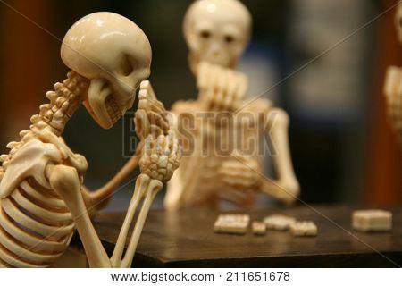 skeletons, cards, games, eyes, playing, bone, poker face