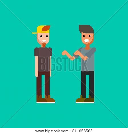 Two young men dressed in modern clothing talking to each other. Rap or hip hop battle. Pair of male cartoon characters isolated on green background. Colorful vector illustration in flat style.