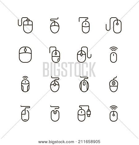 Mouse console icon set. Collection of high quality outline computer mouse pictograms in modern flat style. Black control symbol for web design and mobile app on white background. Online line logo.
