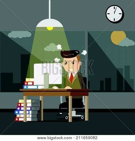 serious boss. senior businessman sitting at his desk with angry face. business man working at the office until night time with stress from overwork. overtime work