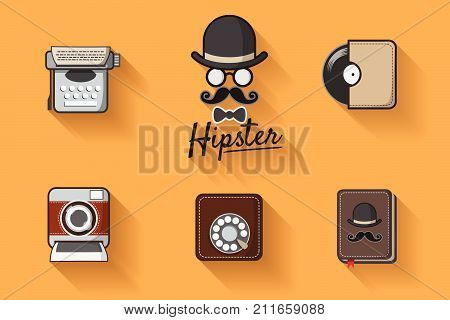 Hipster with mustache. Hipster icon vector theme set with vintage analog dial phone, record,  instant camera and typewriter. Vintage style for hipster logo decorate on website or phone background