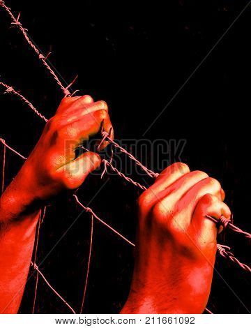 Artistic bloody hands grasping desperately barbed wire