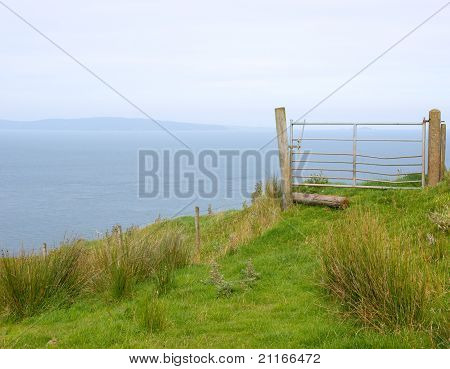 Field Gate On Cliff Edge