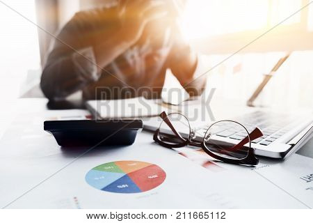 Business, People, Paperwork And Deadline Concept - Stressed Businessman Or Accountant With Laptop Co
