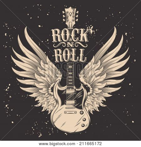 monochrome illustration of an electric guitar with wings. Design element for the advertising poster of the rock festival, sketch for the tattoo, print for the t-shirts