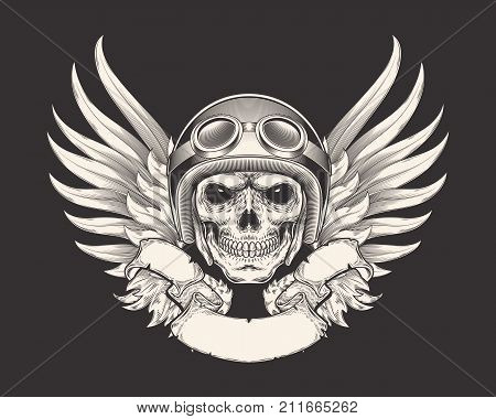 illustration of a skull racer in a helmet and goggles. Sketch of a tattoo, emblem, element of a dizan, print for a T-shirt