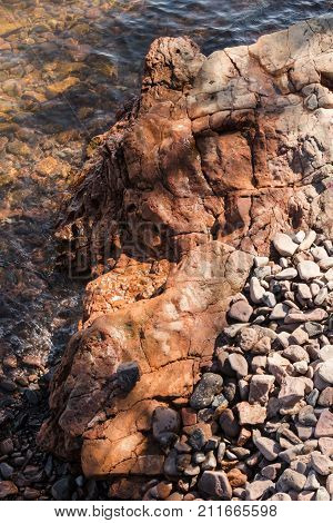 An unusual rock formation on the shore of Lake Superior in Duluth Minnesota.