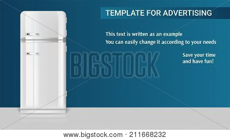 Template with retro vintage fridge for advertisement on horizontal long backdrop, 3D illustration with example of text design. Realistic white vintage fridge icon.