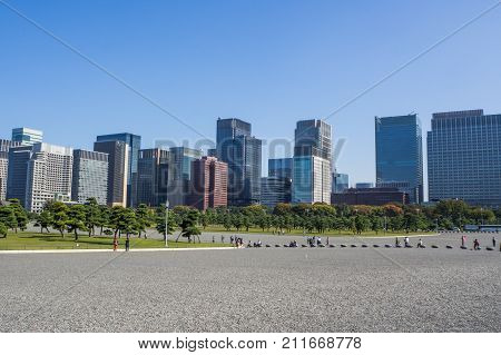 City Buildings Front Tokyo Imperial Palace ,tokyo Imperial Palace  : 26 October 2017