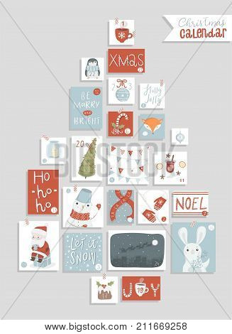 Christmas advent calendar, cute hand drawn style. Twenty four christmas countdown printable tags collection with cute illustrations. Count down till christmas kit. Advent calendar. Vector illustration