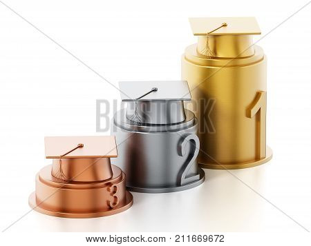 Gold silver and bronze mortarboards standing on columns. 3D illustration.