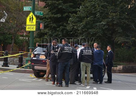 NEW YORK - OCTOBER 31, 2017: NYPD officers are at the crime scene near a terror attack site in lower Manhattan in New York.