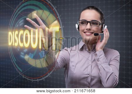 Telesales concept with woman pressing button