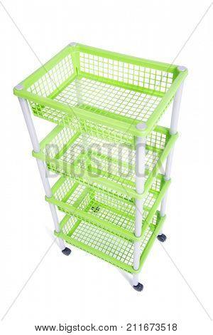 Green bin rack shelf with wheels isolated on white