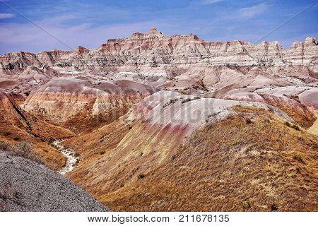 Badlands National Park, USA, 2017.09.13: A landscape in the Badlands National Park in the USA.