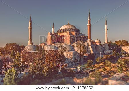 ISTANBUL TURKEY: Top view of the Hagia Sophia mosque in Istanbul Turkey during sunset on October 11 2017