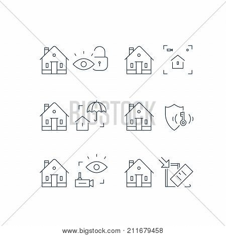 Home security service, house video camera surveillance, alarm guard system, robbery prevention, intrusion protection, property break in, burglary insurance concept, pick up door lock, vector line icon