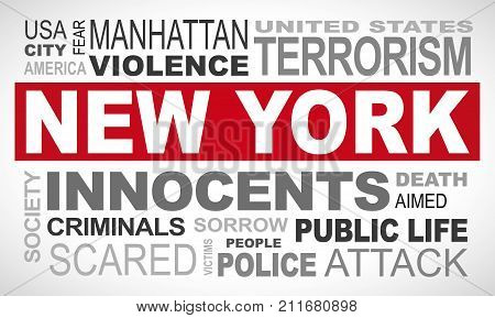 New York Manhattan terror attack - word cloud illustration english